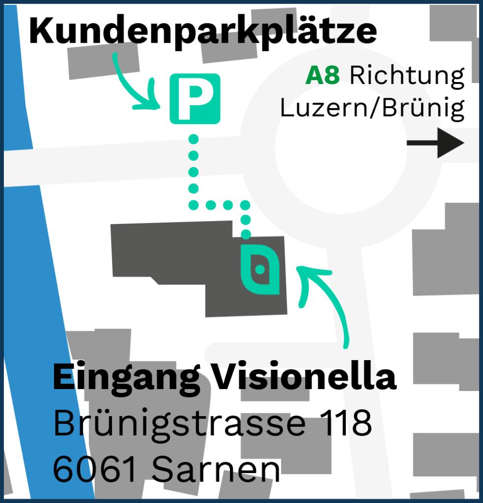 Karte des neuen Standortes von Visionella an der Brünigstrasse 118 in Sarnen