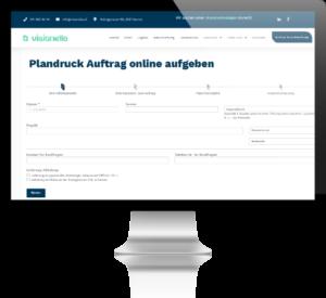 Bildschirm welches das Online Tool zum Drucken von Plänen anzeigt